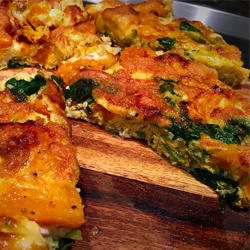 Roasted pumpkin, vegetable and goats cheese frittata