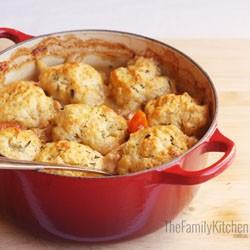 Winter weekend dinner – white wine chicken casserole with rosemary dumplings