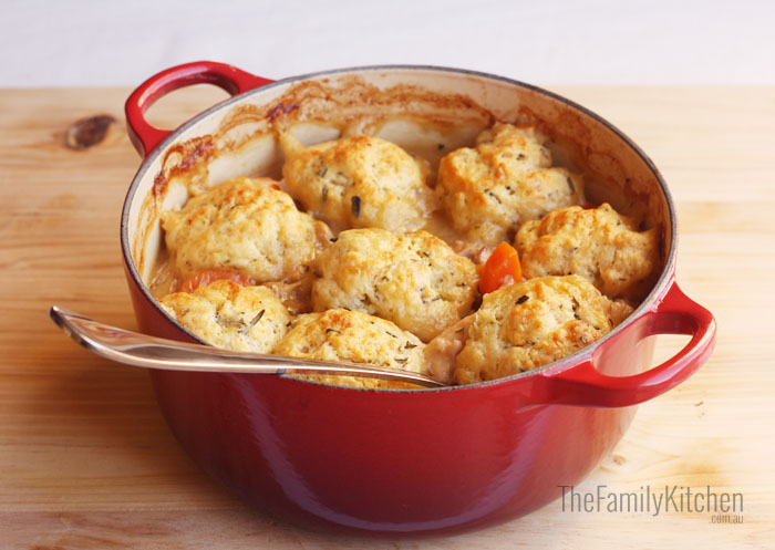 White Wine Chicken Casserols with Rosemary Dumplings