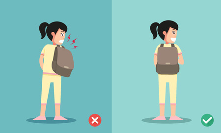 46291308 - wrong and right ways for backpack standing illustration, vector
