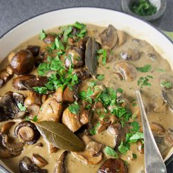 Dinner: Slow-cooker mushroom and herb stroganoff