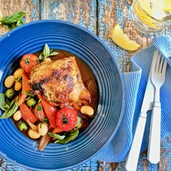 Family dinner: Spanish-style baked chicken and chorizo