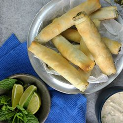 Cook: spinach & feta cigars with yoghurt