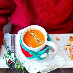 Winter warmer: Roasted tomato soup with seed sprinkle